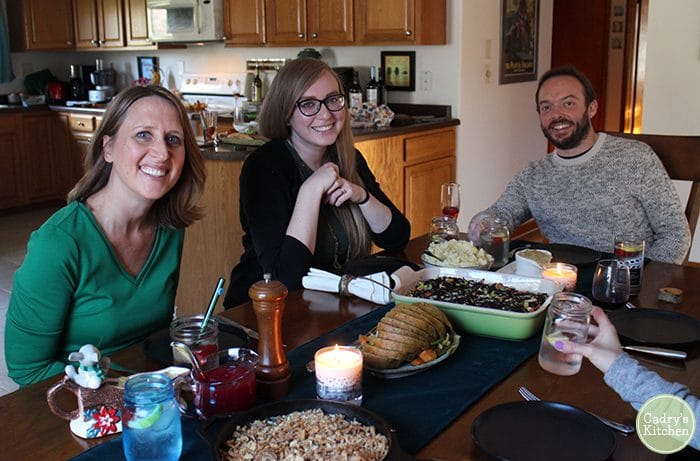 Cadry, Hannah, and Carl at vegan Friendsgiving.