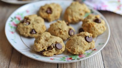 Plate of chocolate chip banana bread cookies.