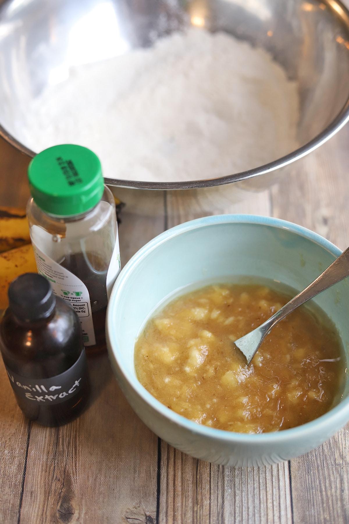 Wet ingredients in separate bowl from dry ingredients.