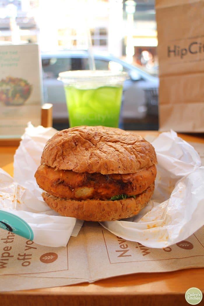 Vegan buffalo chicken sandwich with kale lemonade at HipCityVeg.