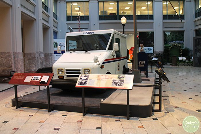 United States mail truck inside National Postal Museum.