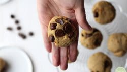 Hand holding vegan banana bread cookies with chocolate chips.