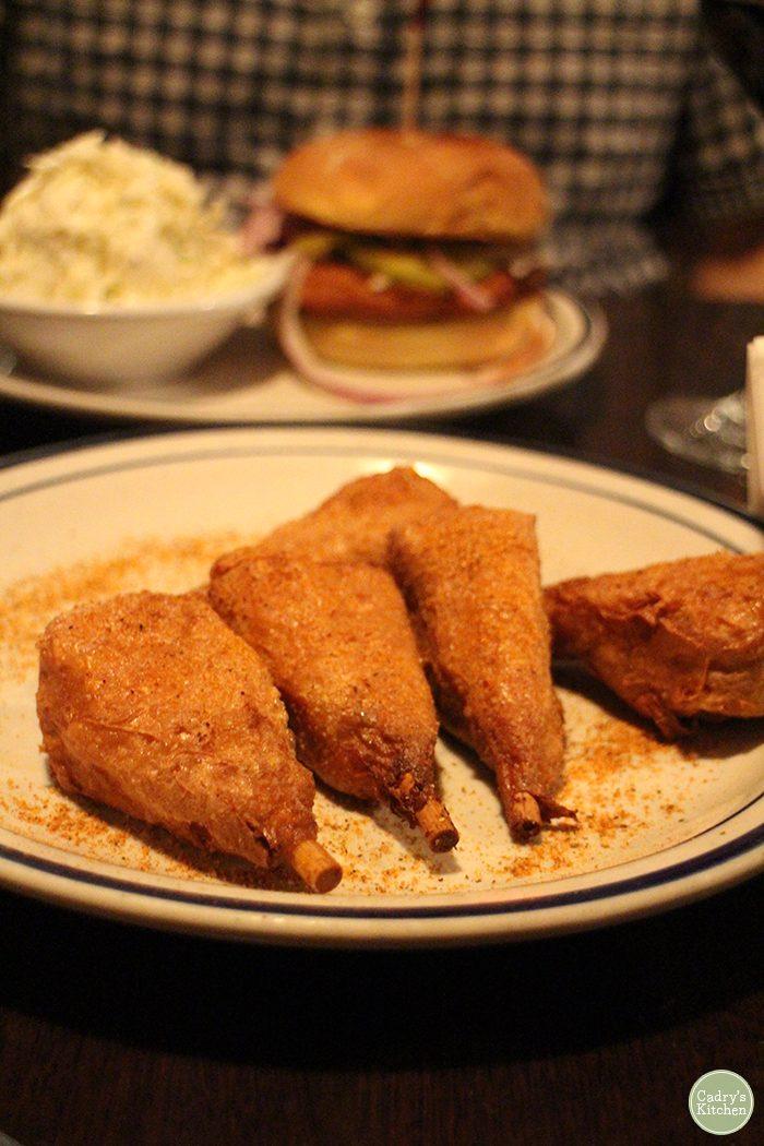 Vegan Washington DC. Vegan chicken on plate at Smoke & Barrel in Washington, D.C.