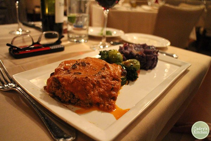 Vegan meatloaf with Brussels sprouts and purple potatoes at Cedar Restaurant in Washington, D.C.