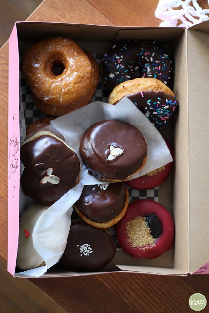 Vegan donuts in box from Glam Doll Donuts.