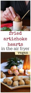 Hand dipping fried artichoke heart into vegan aioli. Platter of fried artichoke hearts made in the air fryer. Text.