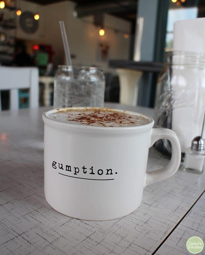 Coffee drink with non-dairy milk in Gumption mug.