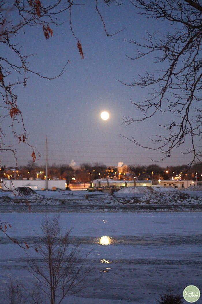 Full moon shining on Mississippi River in Minneapolis, Minnesota.