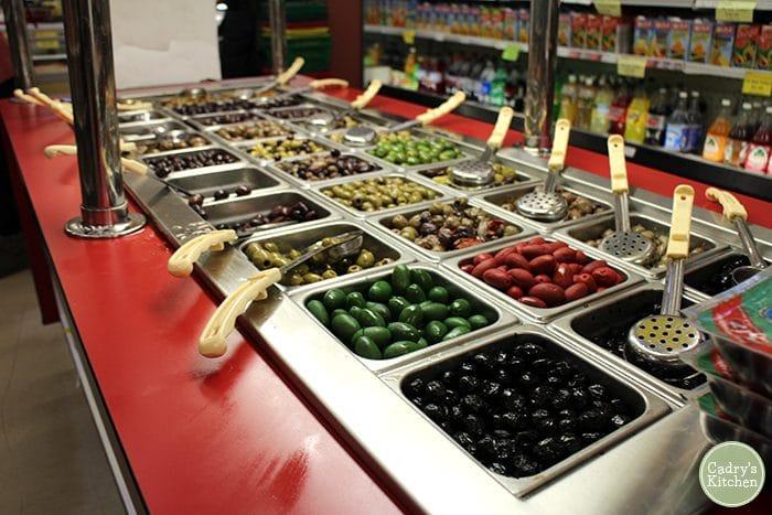 Olive bar at Global Market.