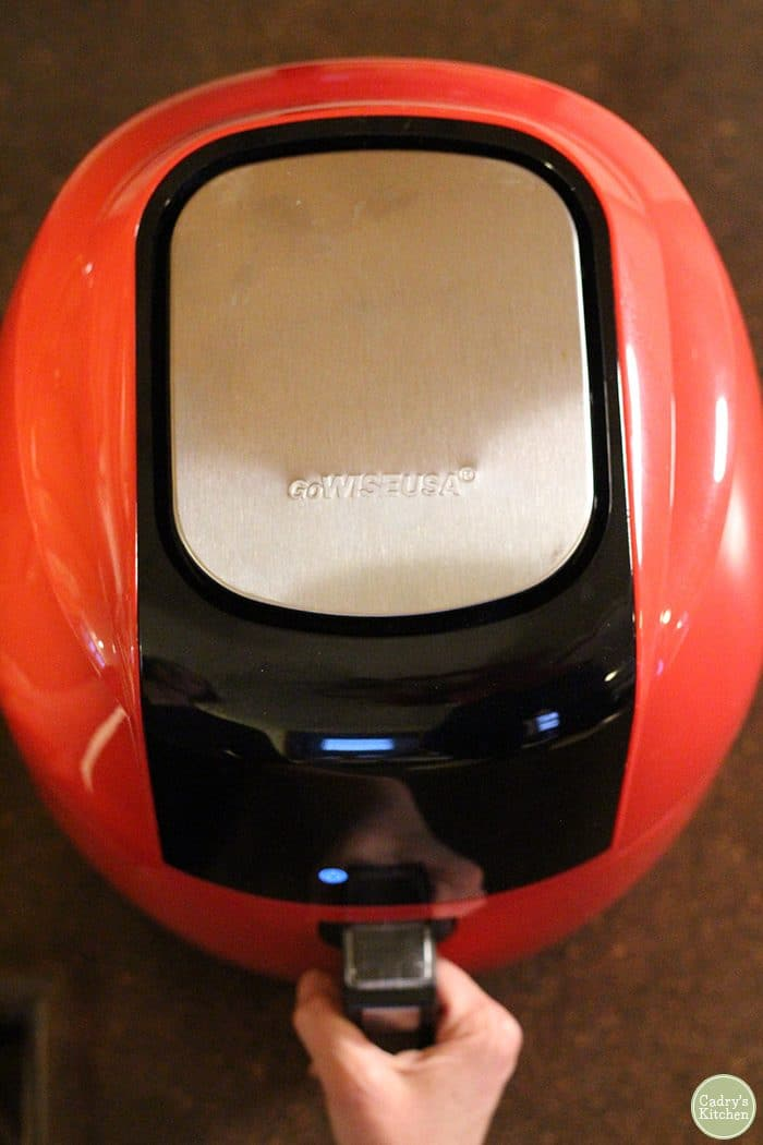 Overhead view GoWise Power XL red air fryer.