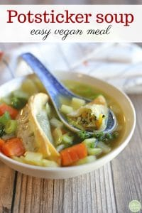 Text overlay: Potsticker soup. Asian dumpling soup with carrots in bowl.