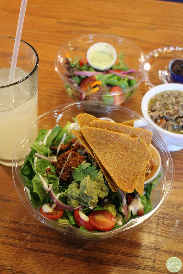 Taco salad with walnut meat and tortilla chips at Rawlicious.