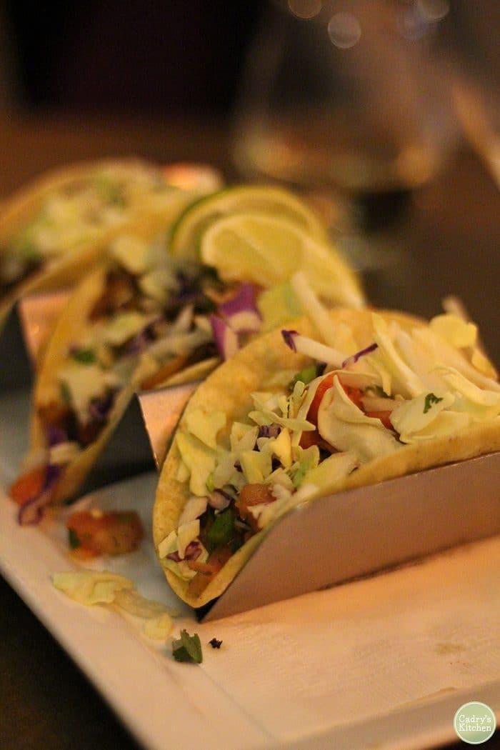 Vegan tacos with Herbivorous Butcher seitan at Stanley's.