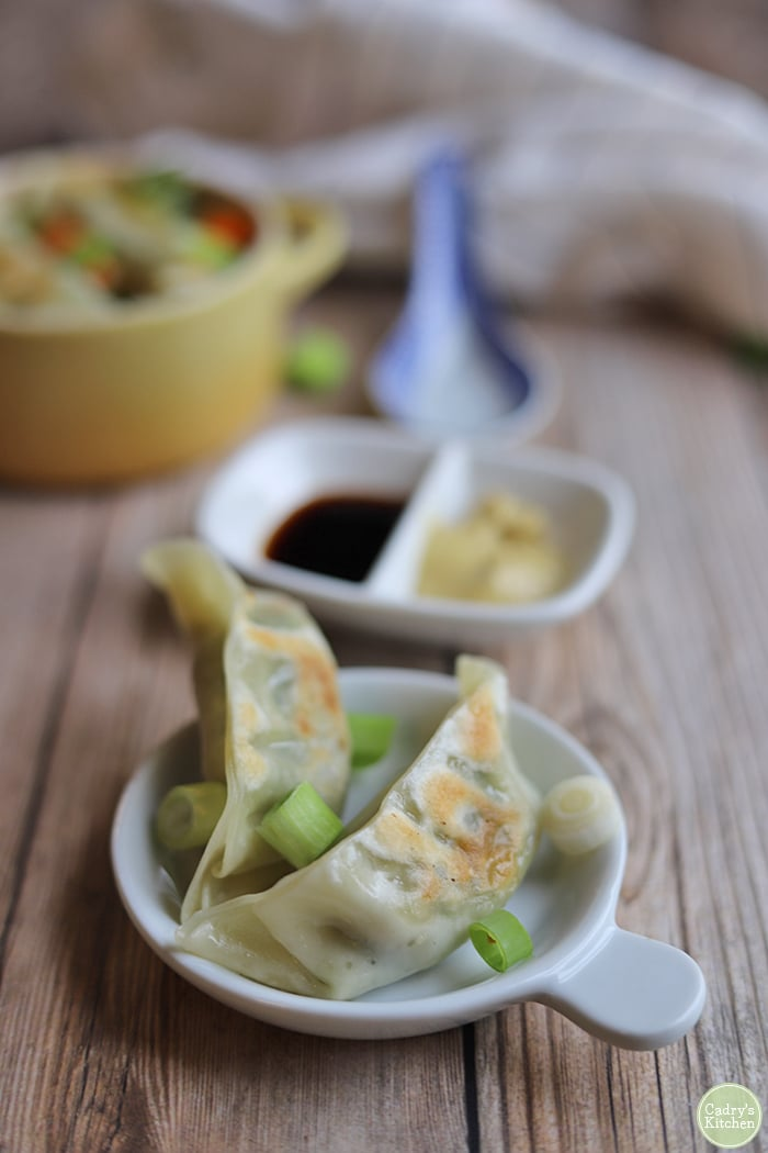 Trader Joe's Thai vegetable gyoza on small plate by tamari and Chinese mustard.