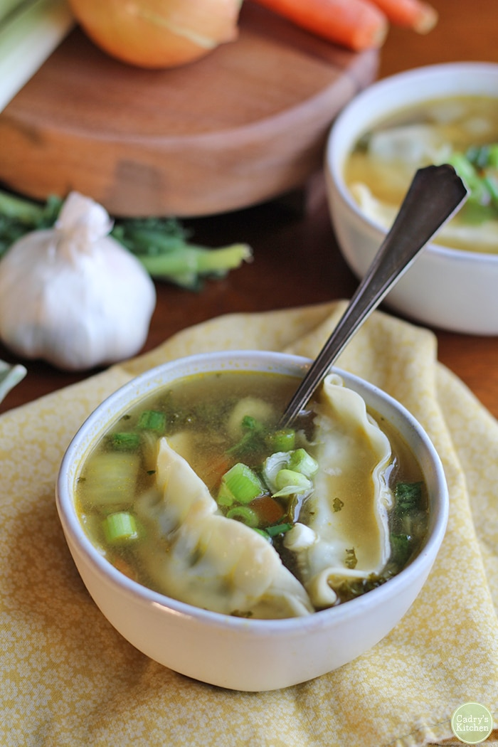 Asian dumpling soup in bowl by garlic head and onion.