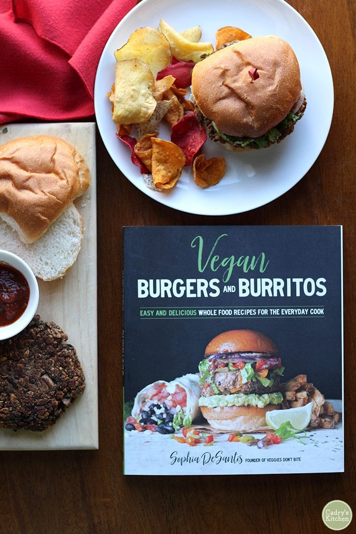 Cover of the cookbook Vegan Burritos & Burgers by Sophia DeSantis