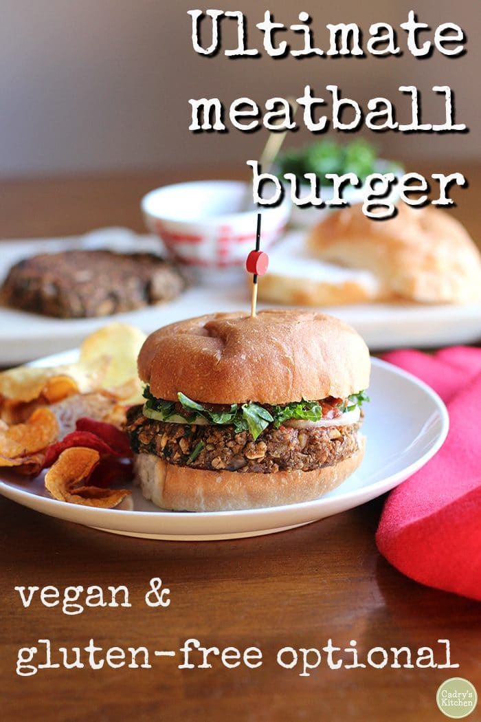 Vegan lentil burgers on plate with chips.