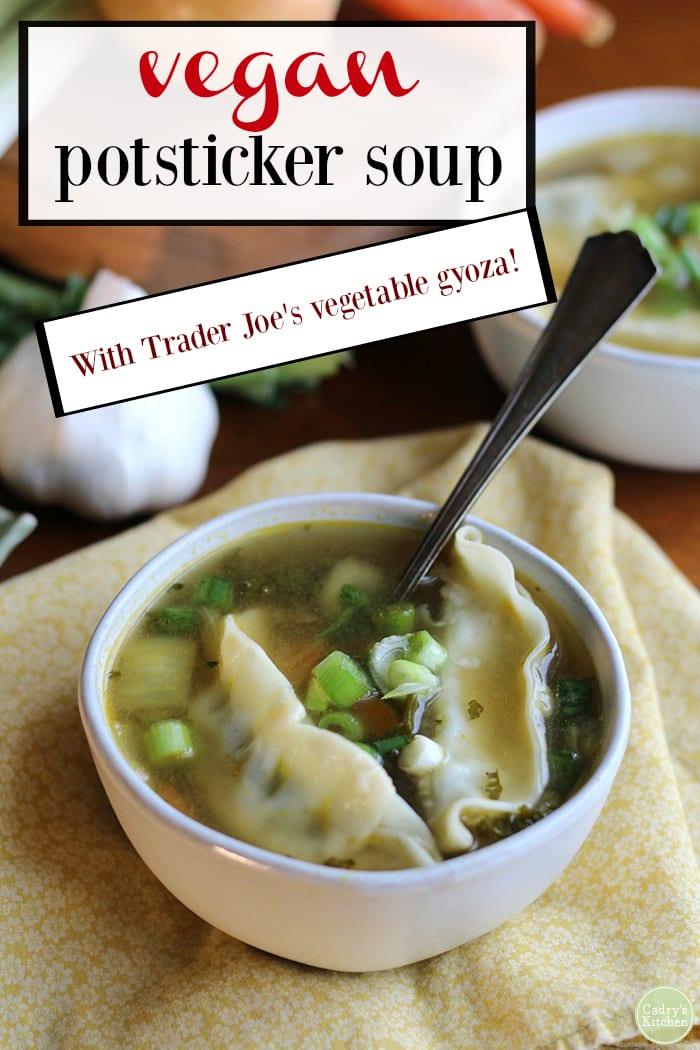 Soothing vegan potsticker soup is packed with onions, garlic, kale, and carrots. It's a satisfying and warming soup for chilly days. This soup uses frozen potstickers. That means lunch is ready in no time. Prefer something on the spicy side? Add a spoonful of gochujang or squeeze of sriracha for extra heat. #vegan #soup #vegetarian #traderjoes #potstickers #gyoza #soup