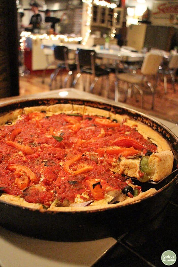 Deep dish vegan pizza at Cappy's Pizzeria in Cedar Rapids, Iowa.
