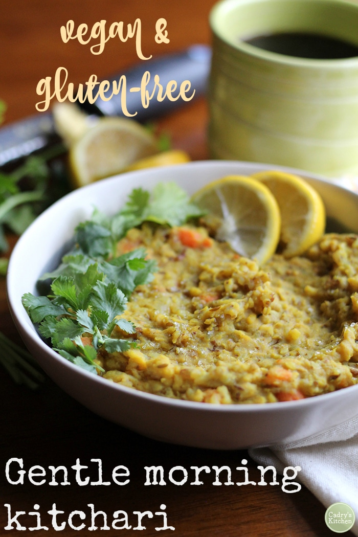 Gentle morning kitchari from Power Plates by Gena Hamshaw: This Indian breakfast stew is packed with protein by way of mung dal. It's hearty, vegan, and gluten-free. Great for breakfast, lunch, or dinner. | cadryskitchen.com #vegan #glutenfree #indian #soup #stew #breakfast