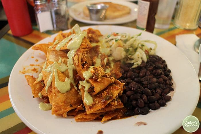 Vegan migas with beans on plate.