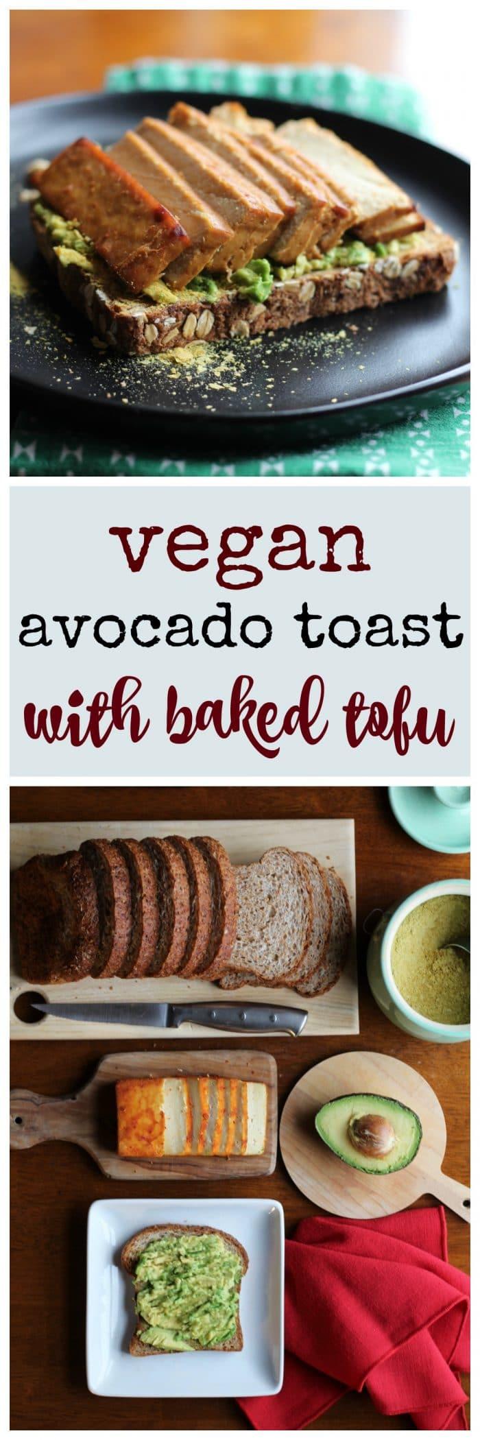 Vegan avocado toast with baked tofu + text.