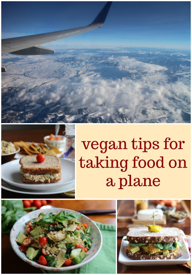 Tips for taking food on a plane: vegan sandwiches, salads, and sides. You'll be the envy of everyone subsisting on pretzel packs until the plane touches down. #vegan #travel #vacation