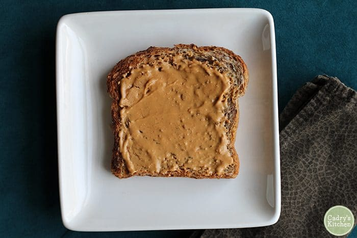 Cashew butter on wheat toast.