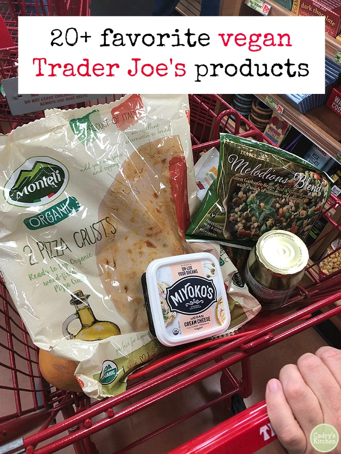 There's always something new to discover at Trader Joe's! Here are 20+ of my favorite vegan products that are winning a spot in my cart right now. #traderjoes #vegan #vegetarian #groceries #favorites