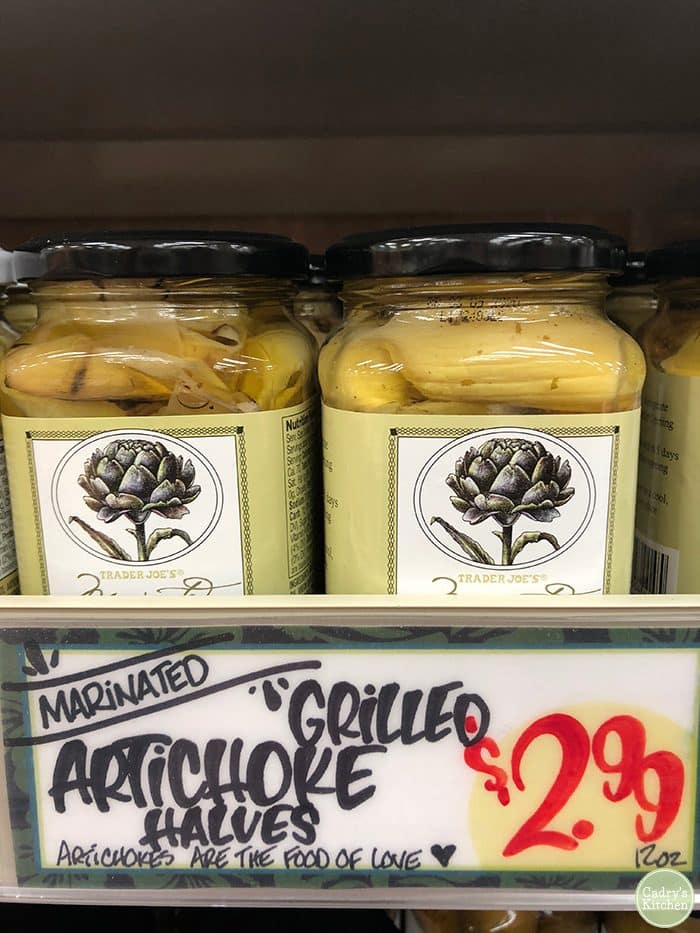 Grilled artichoke hearts in jars at Trader Joe's.