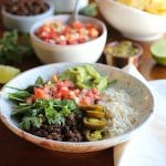 Vegan burrito bowl with lentils & black beans