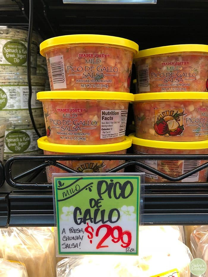 Pico de gallo salsa at Trader Joe's in tubs. Best vegan Trader Joe's products.