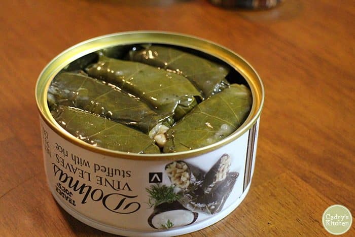 Inside of dolmas can from Trader Joe's.