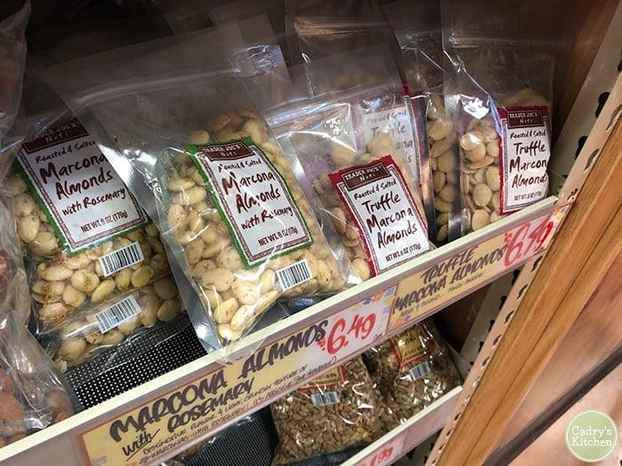Marcona almonds in rosemary & truffle flavor at Trader Joe's.
