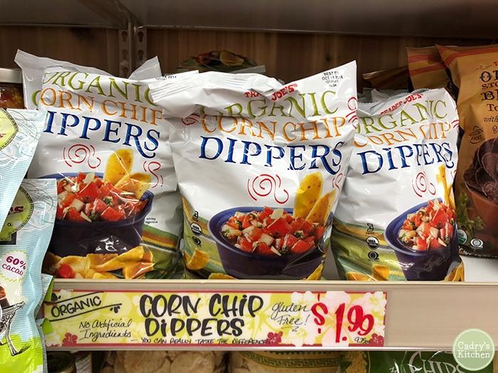 Organic corn chip dippers on Trader Joe's shelf.