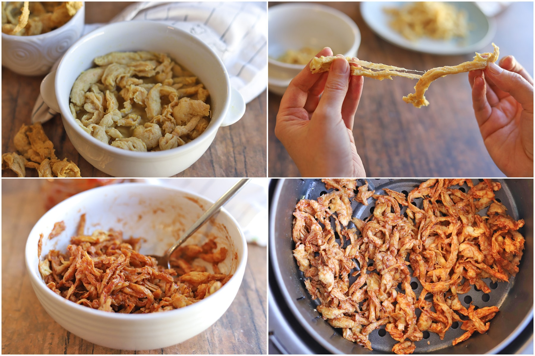 Collage: Soy Curls hydrating, Soy Curls being pulled apart, Soy Curls in BBQ sauce, Soy Curls in air fryer.