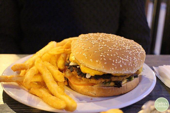 Vegan burger at Kitchen 17 in Chicago, Illinois.