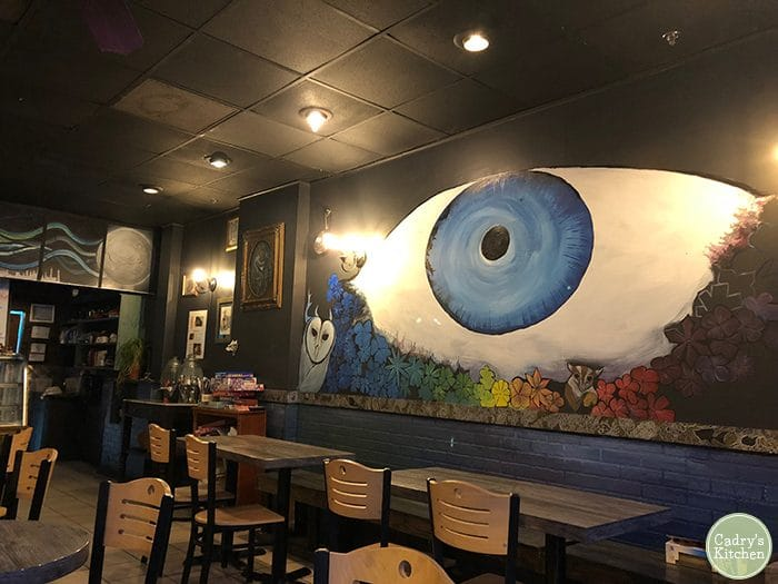 Eye mural at Kitchen 17 in Chicago, Illinois.