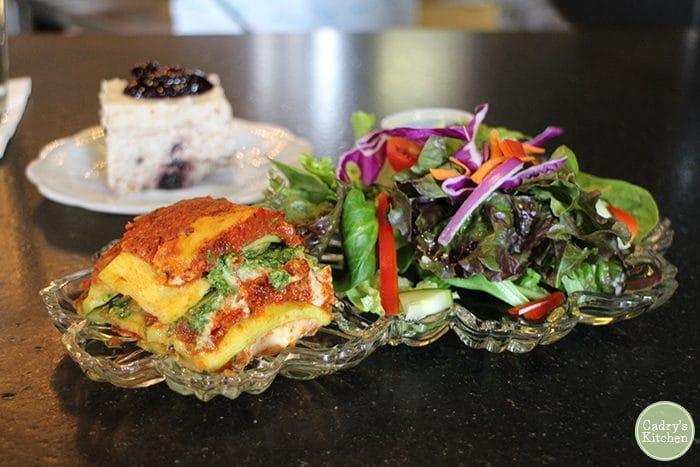 Raw lasagna made with zucchini & a salad at Rawlicious in Cedar Rapids, Iowa.