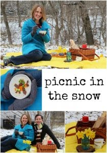 Collage with winter picnic essentials - vegan baked potato soup, picnic basket, blanket, and baguette.