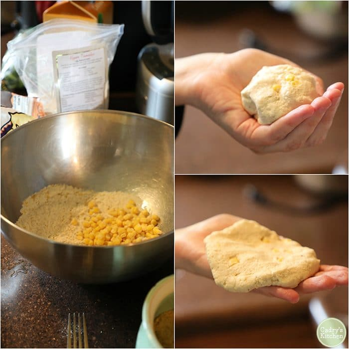 How to make vegan corn cakes. Ingredients in bowl, hand holding dough ball and flattened dough.