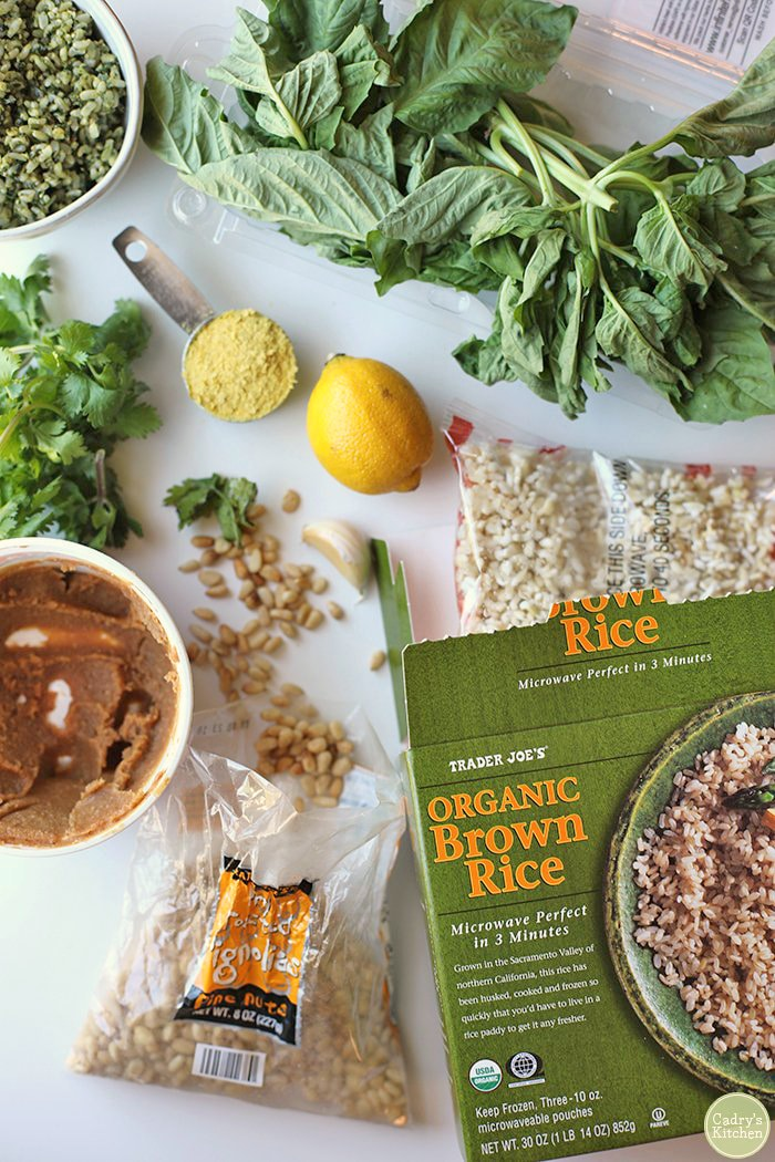 Trader Joe's organic brown rice, miso paste, nutritional yeast flakes, basil, and pine nuts.