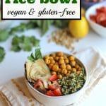 Text: Pesto rice bowl. Vegan & gluten free. Bowl of pesto rice with toppings.