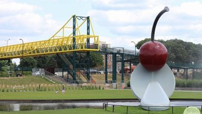 Cherry and spoon plus bridge.