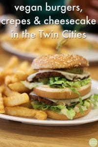J. Selby's Dirty Secret burger (vegan Big Mac) & fries plus text.