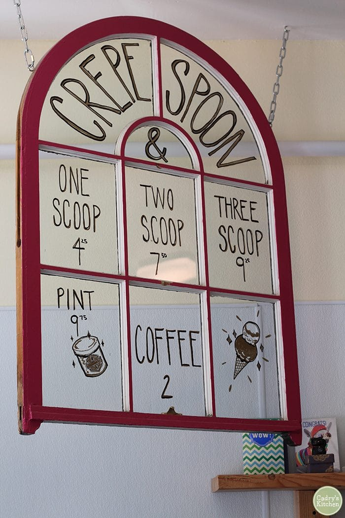 Crepe and Spoon sign with prices.