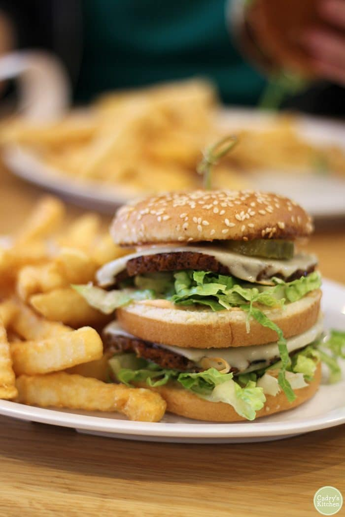 Vegan Big Mac at J. Selby's with french fries.