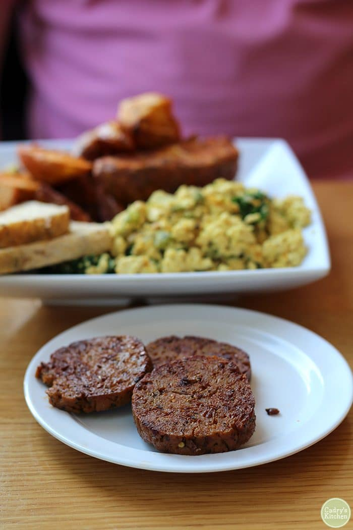 Herbivorous Butcher breakfast sausage, tofu scramble, and fries.