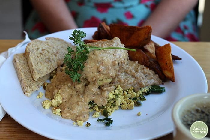 Tofu scramble, biscuits & gravy, toast, and fries at J. Selby's.