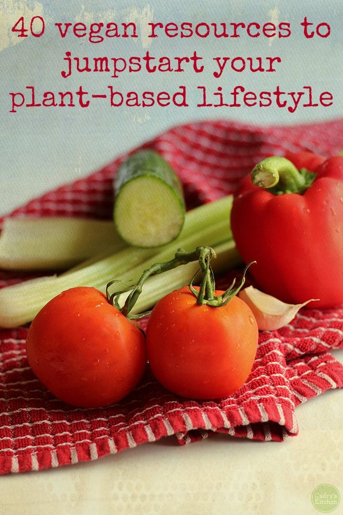 """Tomato, celery, bell pepper, and cucumber + text, """"40 vegan resources to jumpstart your plant-based lifestyle."""""""